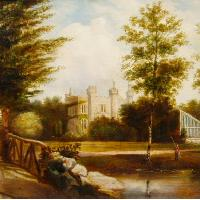 View of a gothic country house from the garden, J Clay