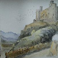 Harlech Castle and Snowdon September 1870, Charles Reynolds Williams